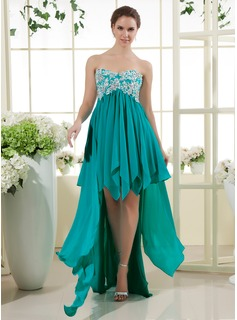 A-Line/Princess Sweetheart Asymmetrical Chiffon Prom Dresses With Lace Beading Sequins Cascading Ruffles
