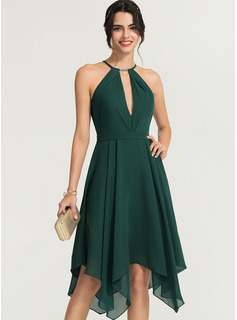 Scoop Neck Asymmetrical Chiffon Cocktail Dress With Beading