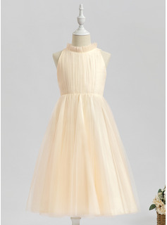 Tea-length Flower Girl Dress - Sleeveless High Neck