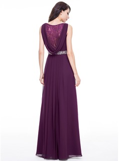 A-Line/Princess V-neck Floor-Length Chiffon Evening Dress With Lace Beading