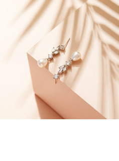 Non-personalized Ladies' Elegant Zircon/Imitation Pearls Earrings For Her