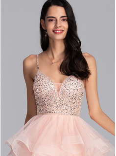 Ball-Gown/Princess V-neck Knee-Length Tulle Prom Dresses With Beading Sequins