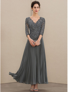 V-neck Ankle-Length Chiffon Lace Mother of the Bride Dress With Sequins Pleated