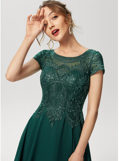 Scoop Neck Knee-Length Chiffon Lace Cocktail Dress With Sequins