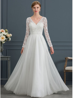 V-neck Floor-Length Tulle Wedding Dress