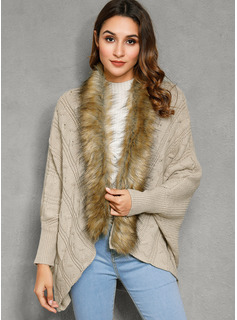 Cable-knit Solid Faux Fur Cardigans Sweaters