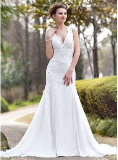 Trumpet/Mermaid Halter Chapel Train Chiffon Wedding Dress With Ruffle Lace Beading