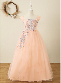 Ball-Gown/Princess Floor-length Flower Girl Dress - Organza/Satin/Lace Sleeveless Square Neckline With Sequins (Undetachable sash)