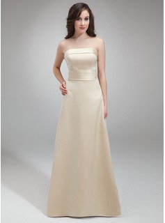 Sheath/Column Strapless Floor-Length Satin Bridesmaid Dress