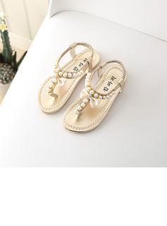 Girl's Peep Toe Flat Heel Sandals Flats With Imitation Pearl Velcro