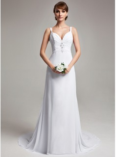 Sheath/Column V-neck Court Train Chiffon Wedding Dress With Ruffle Beading