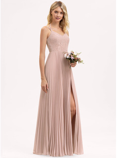 V-neck Floor-Length Chiffon Lace Bridesmaid Dress With Bow(s) Split Front Pleated