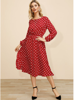 Polyester With PolkaDot Midi Dress