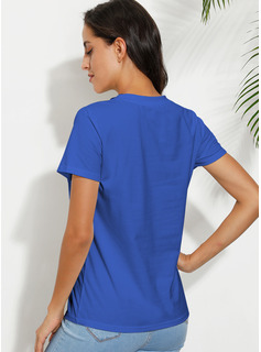 Short Sleeves Polyester Round Neck T-shirt Blouses