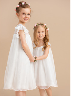 A-Line Knee-length Flower Girl Dress - Chiffon Short Sleeves Scoop Neck With Lace