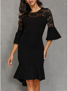 Polyester With Lace/Ruffles/Solid Knee Length Dress