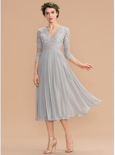 V-neck Tea-Length Chiffon Lace Bridesmaid Dress