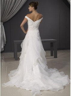 A-Line/Princess Off-the-Shoulder Chapel Train Organza Wedding Dress With Lace Beading Cascading Ruffles