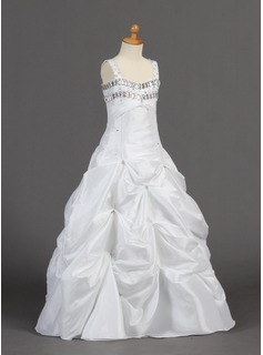 A-Line/Princess Floor-length Flower Girl Dress - Taffeta Sleeveless Sweetheart With Ruffles/Beading/Pick Up Skirt