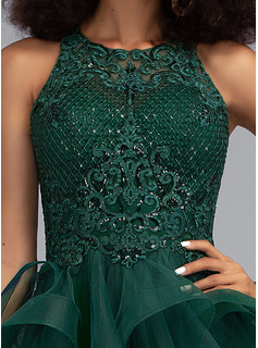 sheer lace mermaid prom dress