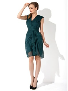 Sheath/Column V-neck Knee-Length Chiffon Mother of the Bride Dress With Cascading Ruffles