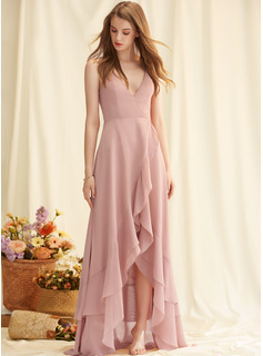 A-Line V-neck Asymmetrical Chiffon Evening Dress With Cascading Ruffles