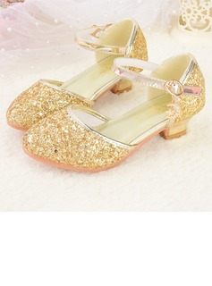 Girl's Round Toe Closed Toe Leatherette Sparkling Glitter Low Heel Flower Girl Shoes
