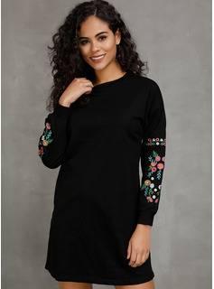 Polyester With Embroidery Above Knee Dress