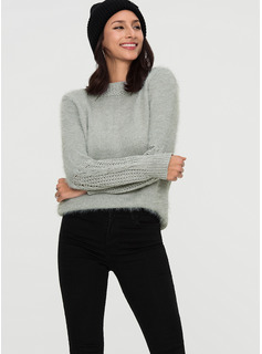 Plain Cable-knit Mohair Turtleneck Sweater Sweaters
