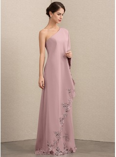 A-Line/Princess One-Shoulder Floor-Length Stretch Crepe Mother of the Bride Dress With Lace