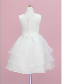 A-Line/Princess Tea-length Flower Girl Dress - Organza/Satin Sleeveless Scoop Neck With Flower(s)