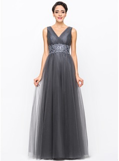 A-Line/Princess V-neck Floor-Length Tulle Evening Dress With Ruffle Beading Appliques Lace Sequins