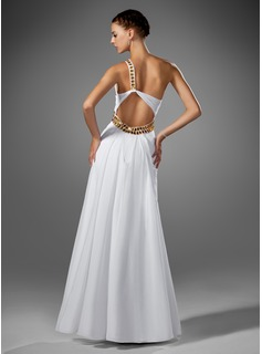 A-Line/Princess One-Shoulder Floor-Length Chiffon Prom Dress With Ruffle Beading Split Front