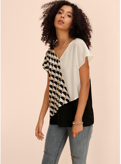 Manches courtes Polyester Spandex Col V Blouses