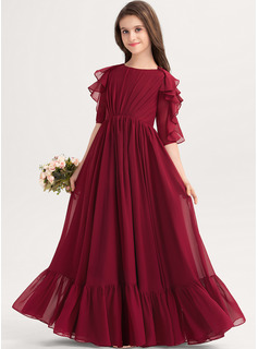 Scoop Neck Floor-Length Chiffon Junior Bridesmaid Dress With Cascading Ruffles