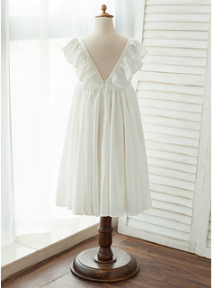 A-Line Tea-length Flower Girl Dress - Chiffon/Satin Sleeveless V-neck