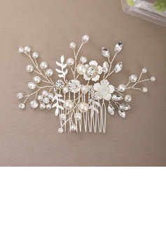 Ladies Elegant Alloy/Imitation Pearls/Fabric/Copper/Glass Combs & Barrettes With Venetian Pearl (Sold in single piece)