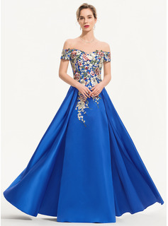 Off-the-Shoulder Floor-Length Satin Evening Dress