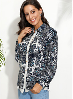 Long Sleeves Polyester Lapel Blouses