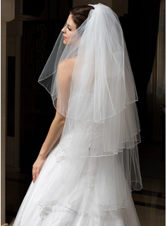 Three-tier Fingertip Bridal Veils With Pencil Edge