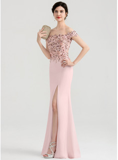 Sheath/Column Off-the-Shoulder Floor-Length Stretch Crepe Evening Dress With Split Front