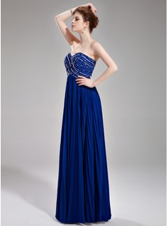 A-Line/Princess Sweetheart Floor-Length Chiffon Prom Dress With Beading Sequins Pleated