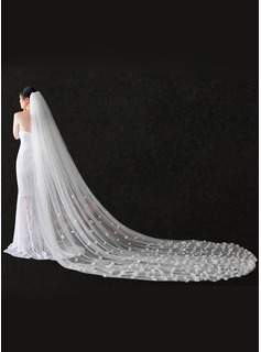One-tier Cut Edge Chapel Bridal Veils/Cathedral Bridal Veils With Satin Flower