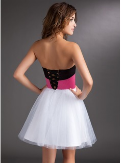 A-Line/Princess Sweetheart Short/Mini Satin Tulle Homecoming Dress With Sash Beading Bow(s)