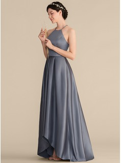 A-Line/Princess Square Neckline Asymmetrical Satin Bridesmaid Dress With Ruffle Bow(s)