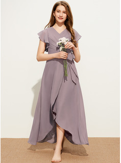 A-Line V-neck Asymmetrical Chiffon Junior Bridesmaid Dress With Ruffle Bow(s)