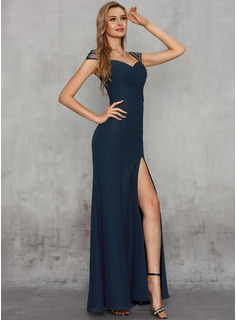 Trumpet/Mermaid Sweetheart Floor-Length Chiffon Evening Dress With Sequins