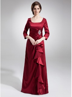A-Line/Princess Square Neckline Floor-Length Charmeuse Mother of the Bride Dress With Ruffle Beading Sequins