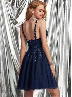 sleeveless prom dress short