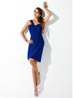 Sheath/Column One-Shoulder Knee-Length Chiffon Homecoming Dress With Cascading Ruffles